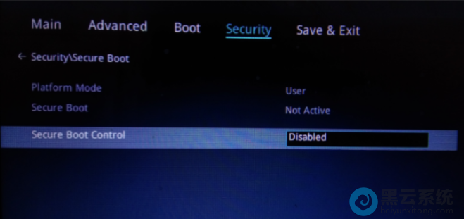 Secure Boot Control 将Enabled 改成Disabled